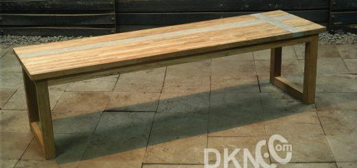 concrete resin recycled teak backless bench