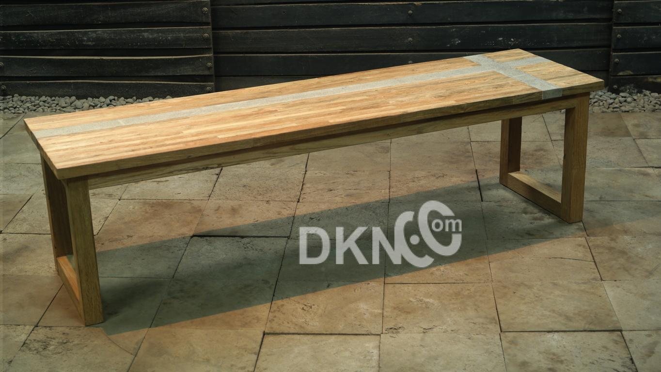 stone resin recycled teak backless bench
