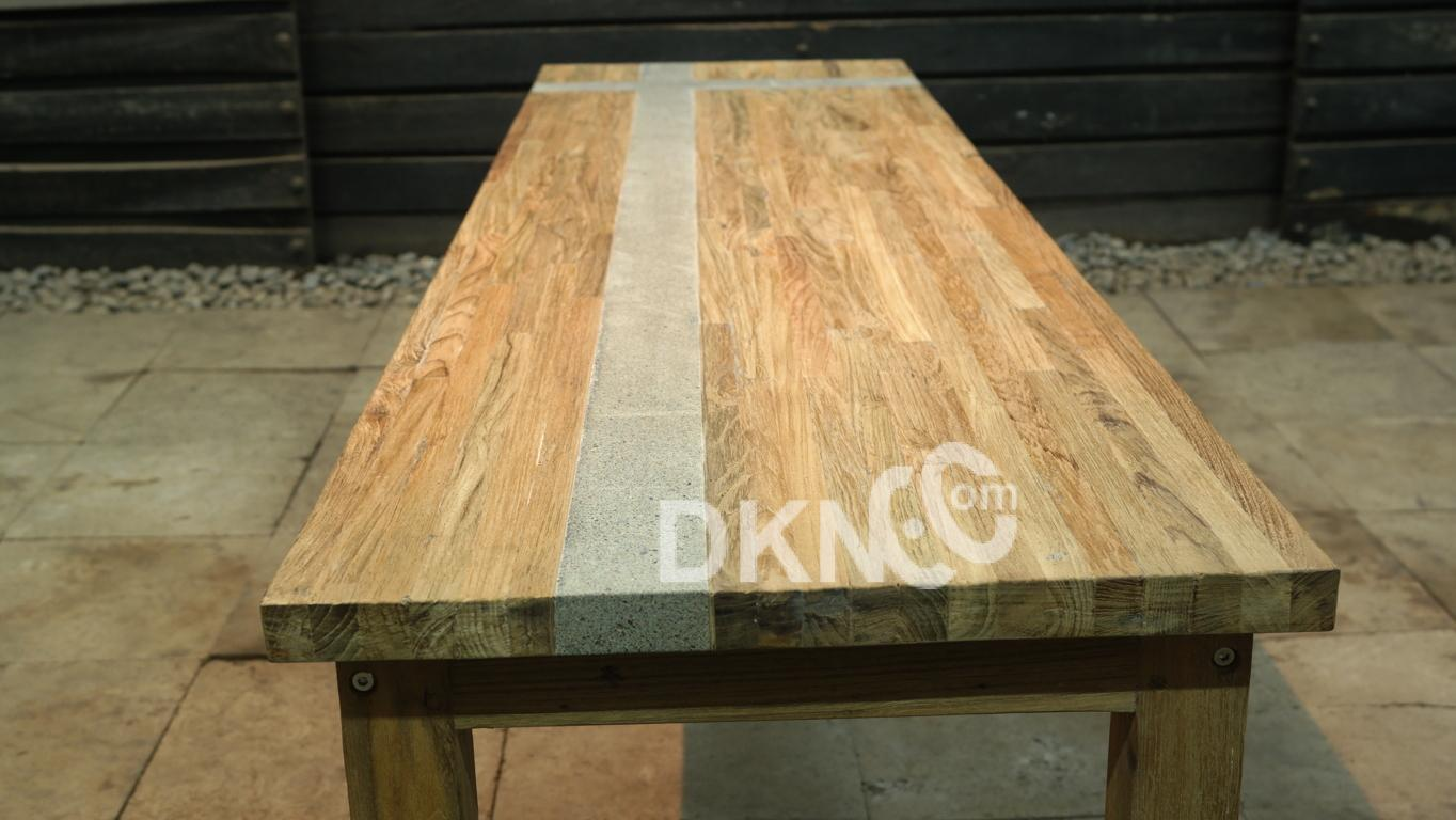 resin stone recycled teak backless bench