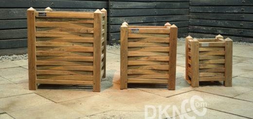 recycled teak square planter