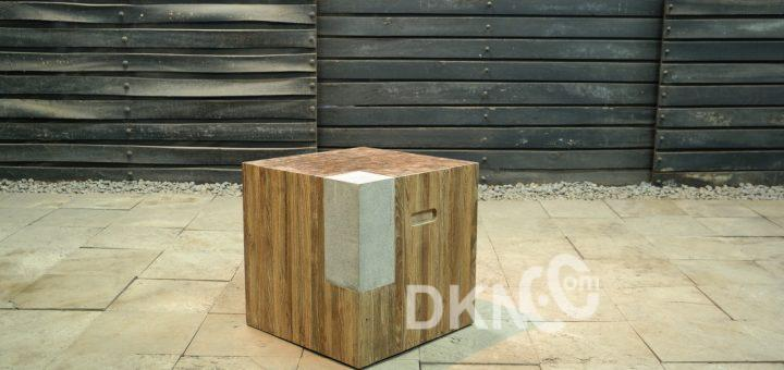 stone recycled teak stool