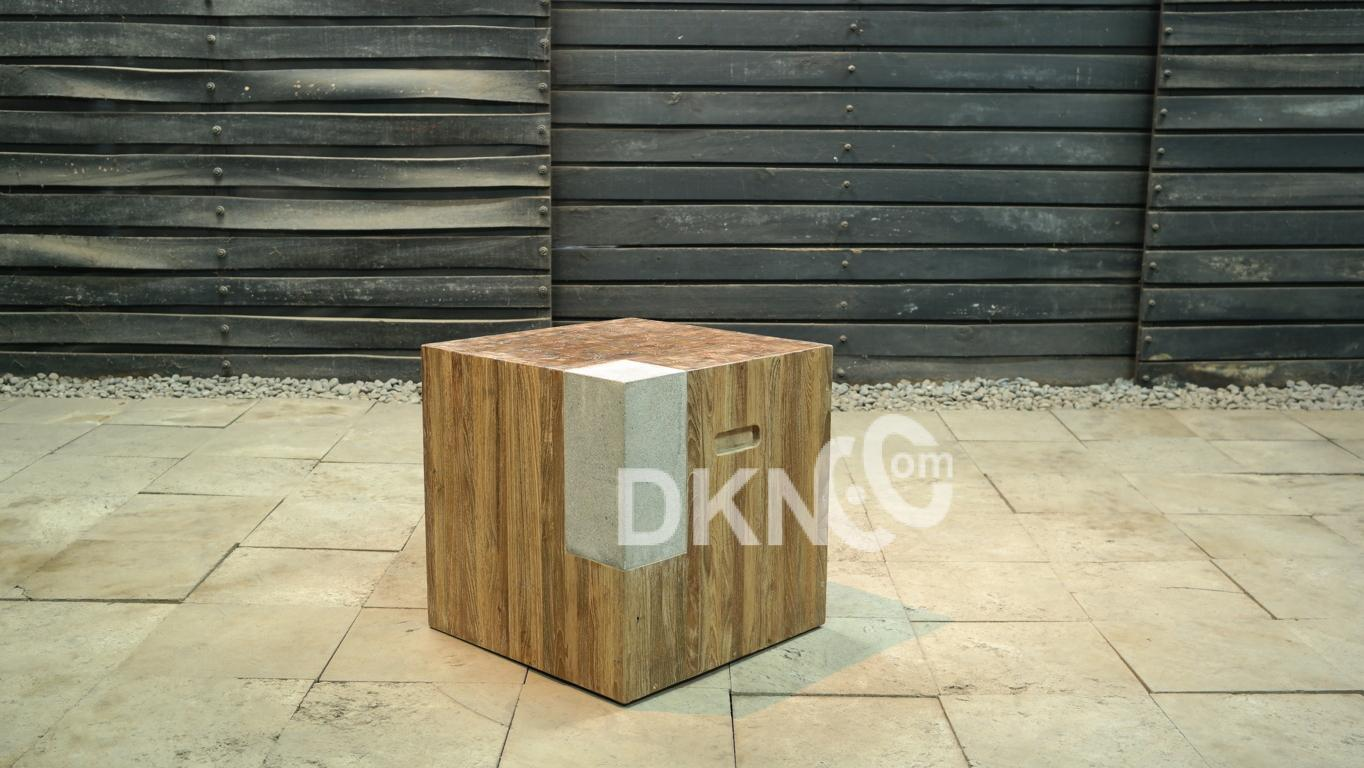 stone recycled teak stool