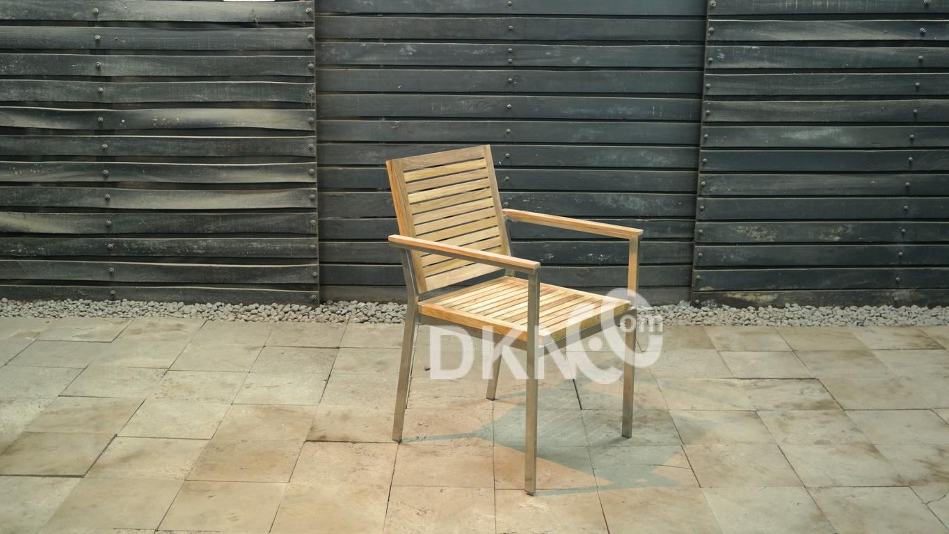 stainless stacking arm chair teak