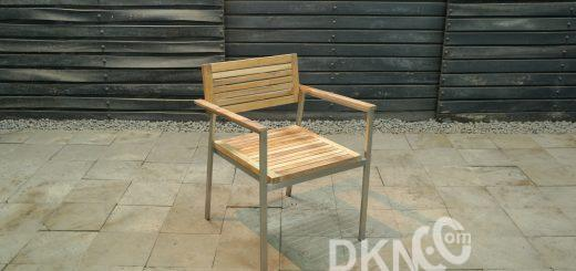 teak stainless steel stacking arm chair