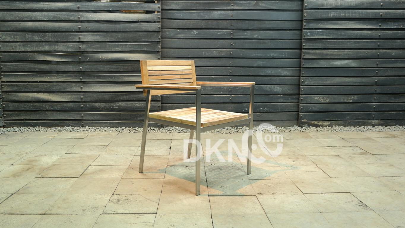 stainless teak arm chair stacking