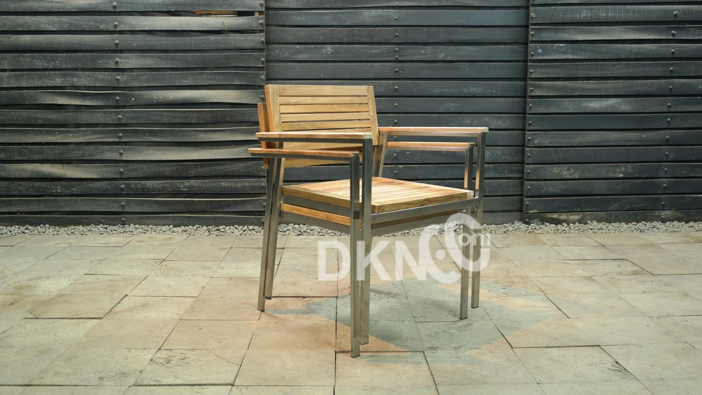 stacking arm chair teak stainless
